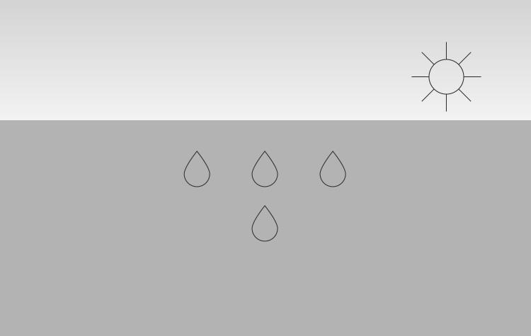 Het binnengedrongen water verdampt niet volledig, restwater blijft aanwezig.