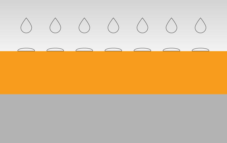 Orange Nano Guardon® HydroProtect dringt diep in de poriën van het materiaal en vormt een sterke chemische binding hierdoor heeft UV straling geen negatief op de werking van het product.  Het maakt het bouwwerk  Waterafstotend terwijl het ook kan blijven ademen.