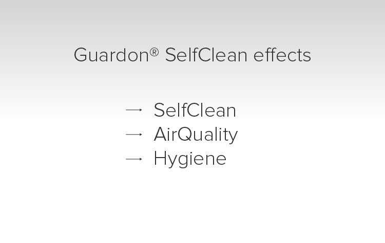 Guardon® SelfClean zorgt bij glazen oppervlakken bovendien voor een anti-aanslag effect.
